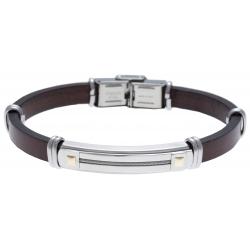 Bracelet acier - cuir italien marron - cable acier - or jaune 18KT 0,06g -  21,5cm - réglable