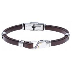 Bracelet acier - cuir italien marron - or jaune 18KT 0,03g -  21,5cm - réglable
