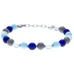 Bracelet acier  - verre de murano - 19+4cm