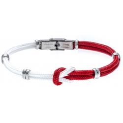 Bracelet acier nœud marin - corde nautique - blanc et rouge - 21,5cm - réglable