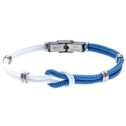 Bracelet acier nœud marin - corde nautique - blanc et bleu clair - 21,5cm - réglable