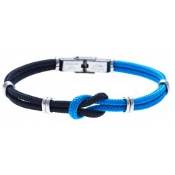 Bracelet acier nœud marin - corde nautique - bleu foncé et bleu clair - 21,5cm - réglable