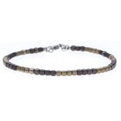 Bracelet acier - hématite noir et doré (4x4) enrobé - 19+4cm