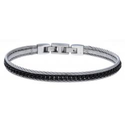 Bracelet acier 2 tons - 2 câbles acier blanc - chaine acier noir - 19,5+1,5cm - réglable