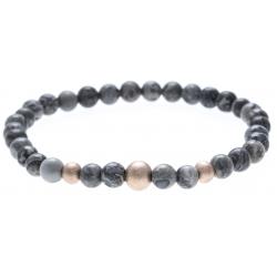 Bracelet acier pour homme - élastique - jaspe gris (map stone) - 21 cm