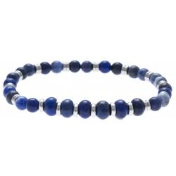 Bracelet acier pour homme - élastique - agate teinté en bleu - lapis lazuli - 21cm