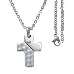 Collier acier - croix - vis or jaune 18KT 0,02g - 45+5cm
