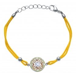 Bracelet acier - nacre - émail - coton jaune - 17+3cm