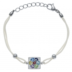 Bracelet acier - nacre - émail - coton beige - 17+3cm