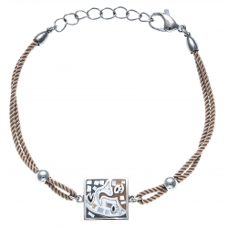 Bracelet acier - nacre - émail - coton marron - 17+3cm