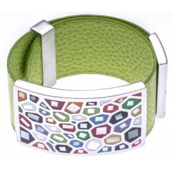 Bracelet acier - émail - nacre - cuir vert pomme - largeur 3cm - longueur 23,5cm