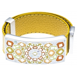 Bracelet acier - émail - nacre - cuir jaune moutarde - largeur 2cm - longueur 23,5cm