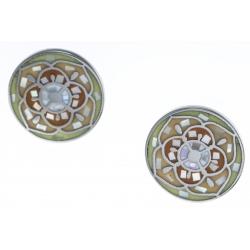 Boucles d'oreille acier - nacre - émail