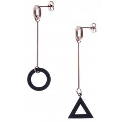 Boucles d'oreilles acier 2 tons - rosé et noir satiné - rond et triangle dépareillés - hauteur 6cm
