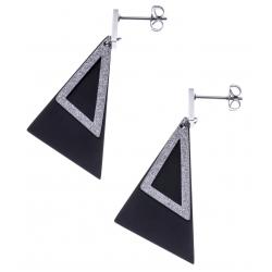 Boucles d'oreilles acier 2 tons - acier satiné et noir - triangles - hauteur 4,5cm