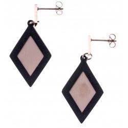 Boucles d'oreilles acier 2 tons - rosé et noir satiné - losanges - hauteur 4,5cm