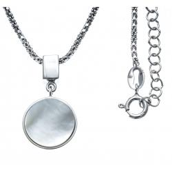 Collier argent rhodié 5,4g - nacre blanche - 45+5cm