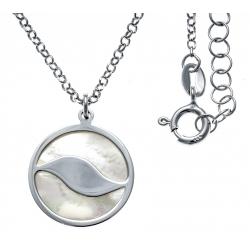 Collier argent rhodié 4,7g - nacre blanche - diamètre 18mm - longueur 40+5cm
