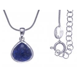 Collier argent rhodié 4,7g - lapis lazuli - 45+5cm