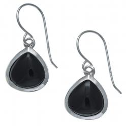 Boucles d'oreille argent rhodié  2,2g - onyx