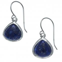 Boucles d'oreille argent rhodié 2,2g - lapis lazuli