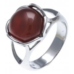 Bague argent rhodié 5,7g - agate teintée rouge - T52 à T60