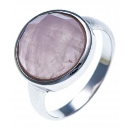 Bague argent rhodié 3,2g - quartz rose facetté - T52 à 60