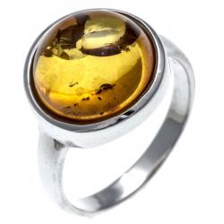 Bague argent rhodié 3,2g - ambre - T52 à 60