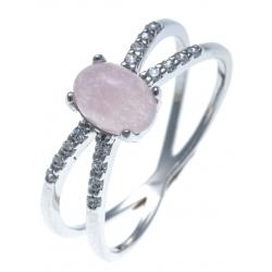 Bague argent rhodié 1,7g - quarzite teintée rose et zircons - T50 à 60