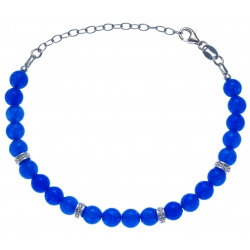 Bracelet argent rhodié 4g - 22 billes agate teintée bleue 6mm - 17+5cm