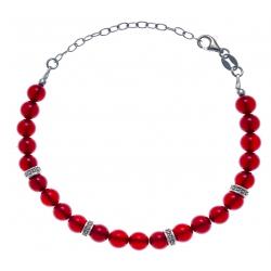 Bracelet argent rhodié 4g - 22 billes agate teintée rouge 6mm - 17+5cm