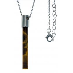 Collier argent rhodié 2g - œil de tigre -  45+5cm