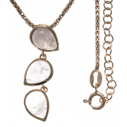 Collier argent rosé 6g - quartz rose - 45+5cm