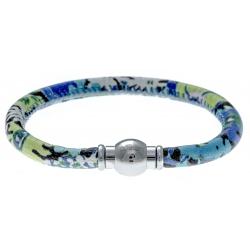 Bracelet acier Apollon - cuir véritable - impression fleurs multicolores dominante bleue - fermoir Plug&Go - 18,5cm