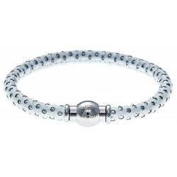 Bracelet acier Apollon - cuir véritable - impression petit pois blanc et argenté - fermoir Plug&Go - 18,5cm