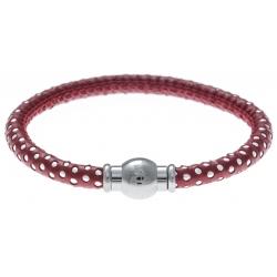 Bracelet acier Apollon - cuir véritable - impression petit pois rouge et argenté - fermoir Plug&Go - 18,5cm