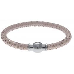 Bracelet acier Apollon - cuir véritable - impression petit pois rose et rosé - fermoir Plug&Go - 18,5cm