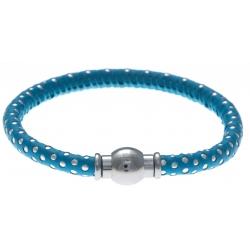 Bracelet acier Apollon - cuir véritable - impression petit pois bleu clair et argenté - fermoir Plug&Go - 18,5cm
