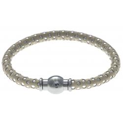 Bracelet acier Apollon - cuir véritable - impression petit pois beige et argenté - fermoir Plug&Go - 18,5cm