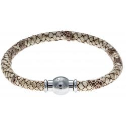 Bracelet acier Apollon - cuir véritable - impression peau de serpent beige - fermoir Plug&Go - 18,5cm