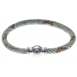 Bracelet acier Apollon - cuir véritable - impression peau de serpent vert - fermoir Plug&Go - 18,5cm