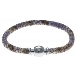 Bracelet acier Apollon - cuir véritable - impression peau de serpent violet - fermoir Plug&Go - 18,5cm