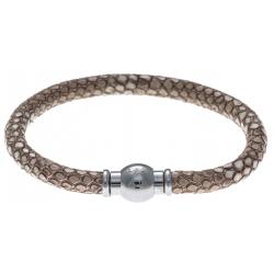 Bracelet acier Apollon - cuir véritable - impression python marron clair - fermoir Plug&Go - 18,5cm