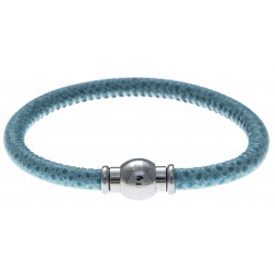Bracelet acier Apollon - cuir véritable - impression vintage bleu - fermoir Plug&Go - 18,5cm
