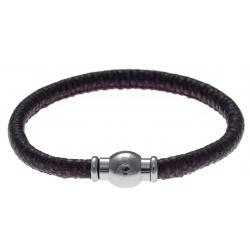 Bracelet acier Apollon - cuir véritable - impression vintage fushia et noire - fermoir Plug&Go - 18,5cm