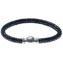 Bracelet acier Apollon - cuir véritable - impression galuchat  bleue - fermoir Plug&Go - 18,5cm