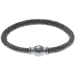 Bracelet acier Apollon - cuir véritable - impression galuchat  gris - fermoir Plug&Go - 18,5cm