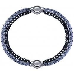 Apollon - Collection MiX - bracelet combinable chaines 2 tons noir et blancs - 10,25cm + chaines 2 tons noir et blancs - 10,25cm