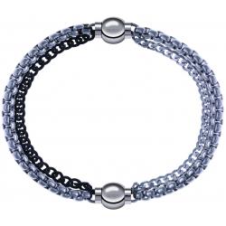 Apollon - Collection MiX - bracelet combinable chaines 2 tons noir et blancs - 10,25cm + chaines - 10,25cm