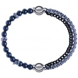 Apollon - Collection MiX - bracelet combinable hématite 6mm - 10cm + chaines 2 tons noir et blancs - 10,25cm